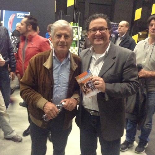 Con Giacomo Agostini, leggenda, 15 volte campione del mondo nel motociclismo