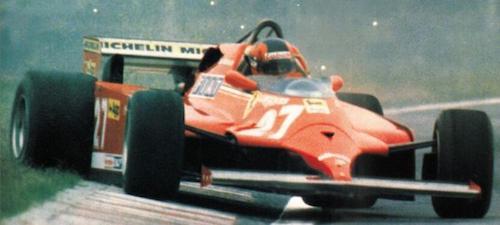 La Ferrari 126C domata da Gilles Villeneuve nel suo classico stile...