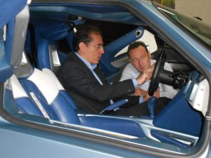 Walter Sciacca testing the cockpit of the Evantra (Mazzanti Automobili supercar) together with Luca Mazzanti